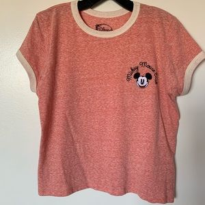 DISNEY salmon colored ringer tee Mickey Mouse logo